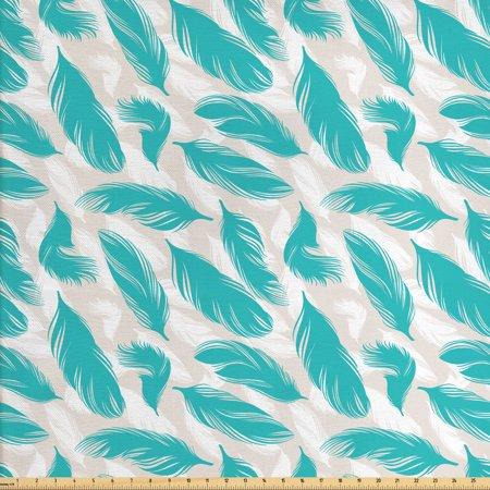 Turquoise Fabric by The Yard, Quills Design Bird Feathers Abstract Animal Elements Nature Inspired, Decorative Fabric for Upholstery and Home Accents, by Ambesonne Animal Design Fabric