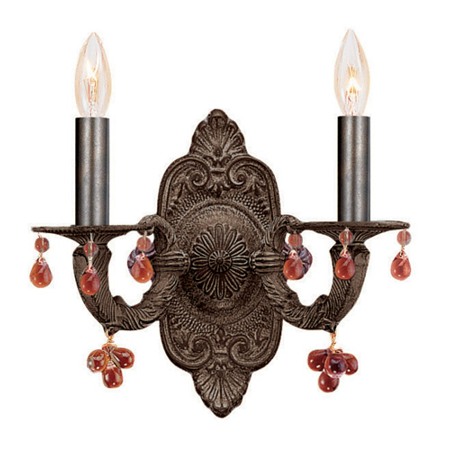 Wall Sconces 2 Light With Venetian Bronze Murano Amber Crystal Wrought Iron 11 inch 120 Watts - World of Lighting