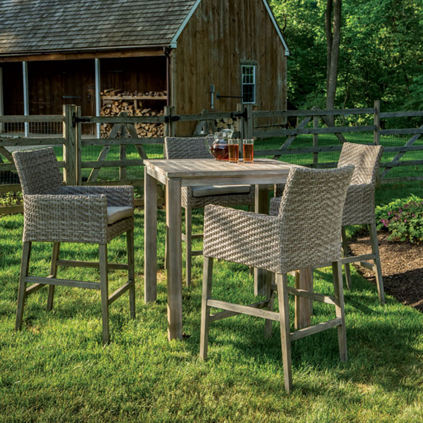 Alfresco Home Cornwall Wood 5 Piece Square Bar Height Patio Dining