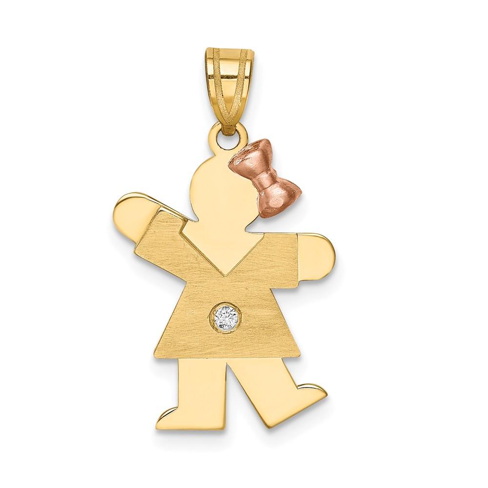 14k Two Tone Gold H-I SI2 Quality Diamond kid pendant. Carat Wt- 0.016ct