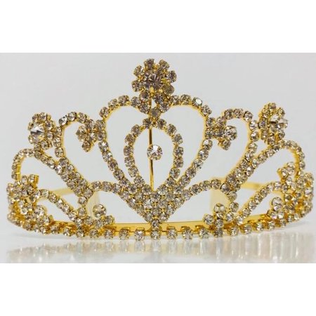 Gold Rhinestone Heart Tiara Princess Crown For Wedding Sweet 16 Mis Quince Anos Gift
