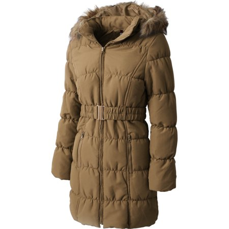 Ma Croix Womens Quilted Puffer Coat with Belt Lightweight Detachable Faux Fur Hoodie Jacket Winter Outerwear