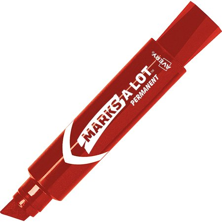 Avery Marks-A-Lot Jumbo Desk-Style Permanent Marker, Chisel Tip, Red