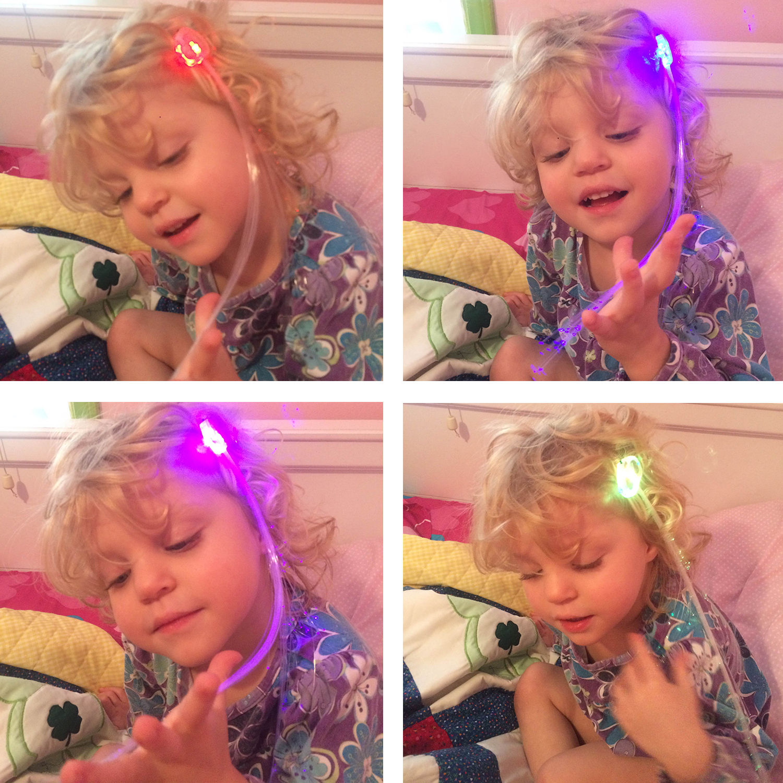 Etekcity Glow Led Flashing Fiber Lights Up Hair Barrettes Sticks