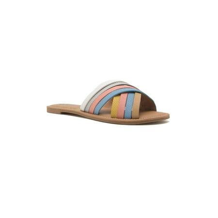Womens Casual PU X-Strap Slide Sandal Shoes Athena-1197