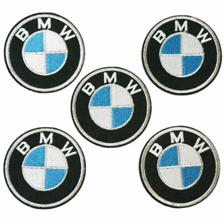 5 pieces, 2.4 Inches Silver BMW Embroidered Iron on Patch ,Sew On Logo Clothes Clothing