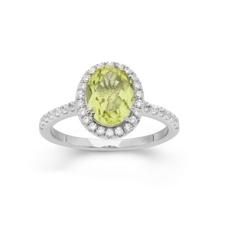 Faceted Lemon Quartz Ring (Platinum Plated Sterling Silver Facet Cut Lemon Quartz Pave CZ Ring in Sizes 6, 7, or)