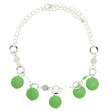 Mi Amore Silver-Tone Ankle Bracelet With Green Disc Shaped Charm Accents AN1453A-GRN
