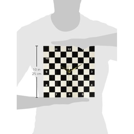 3dRose Check black and white pattern - checkered checked squares chess checkerboard or racing car race flag, Wall Clock, 10 by 10-inch