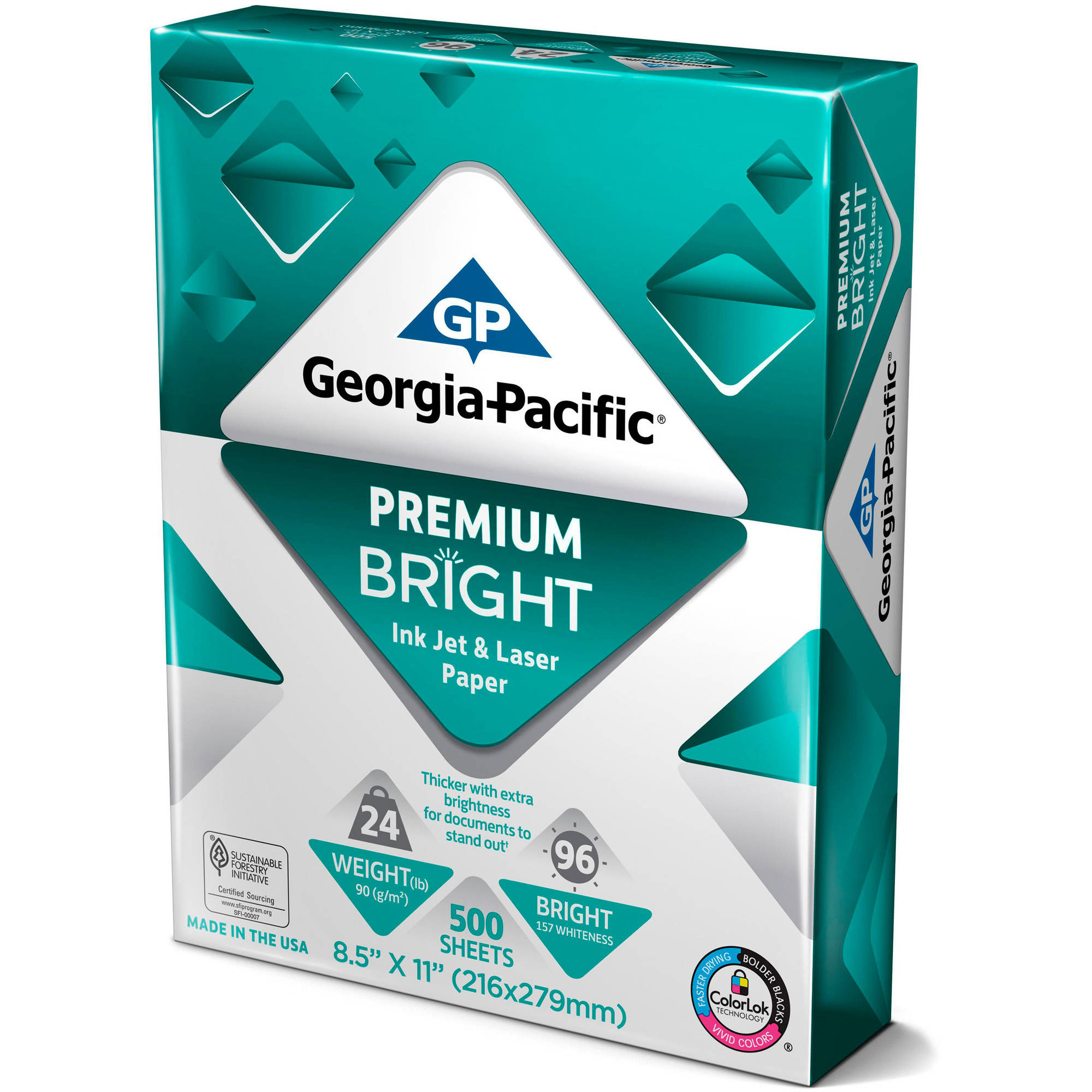 "Georgia-Pacific Premium Bright Inkjet and Laser Paper, 8.5"" x 11"", 24 lb, 96 Brightness, 500 Sheets"