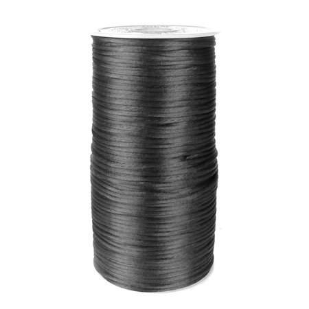 (Satin Rattail Cord Chinese Knot, 1/16-Inch, 200 Yards, Black)