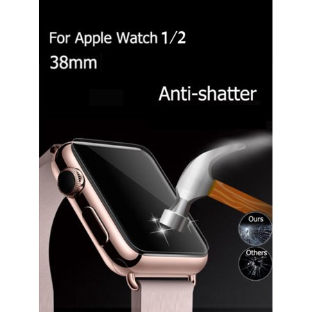 iClover [2 Pack] Apple Watch 38MM Screen Protector Clear 9H Anti-Bubble Film Scratch Resistant Tempered Glass Screen Protector for Apple Watch (Series 1/Series 2/Series 3)