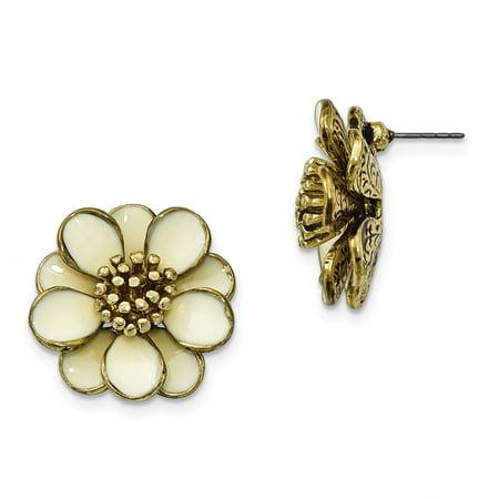 Gold-tone Cream Enamel Flower Post Earrings BF1109 - image 2 of 2