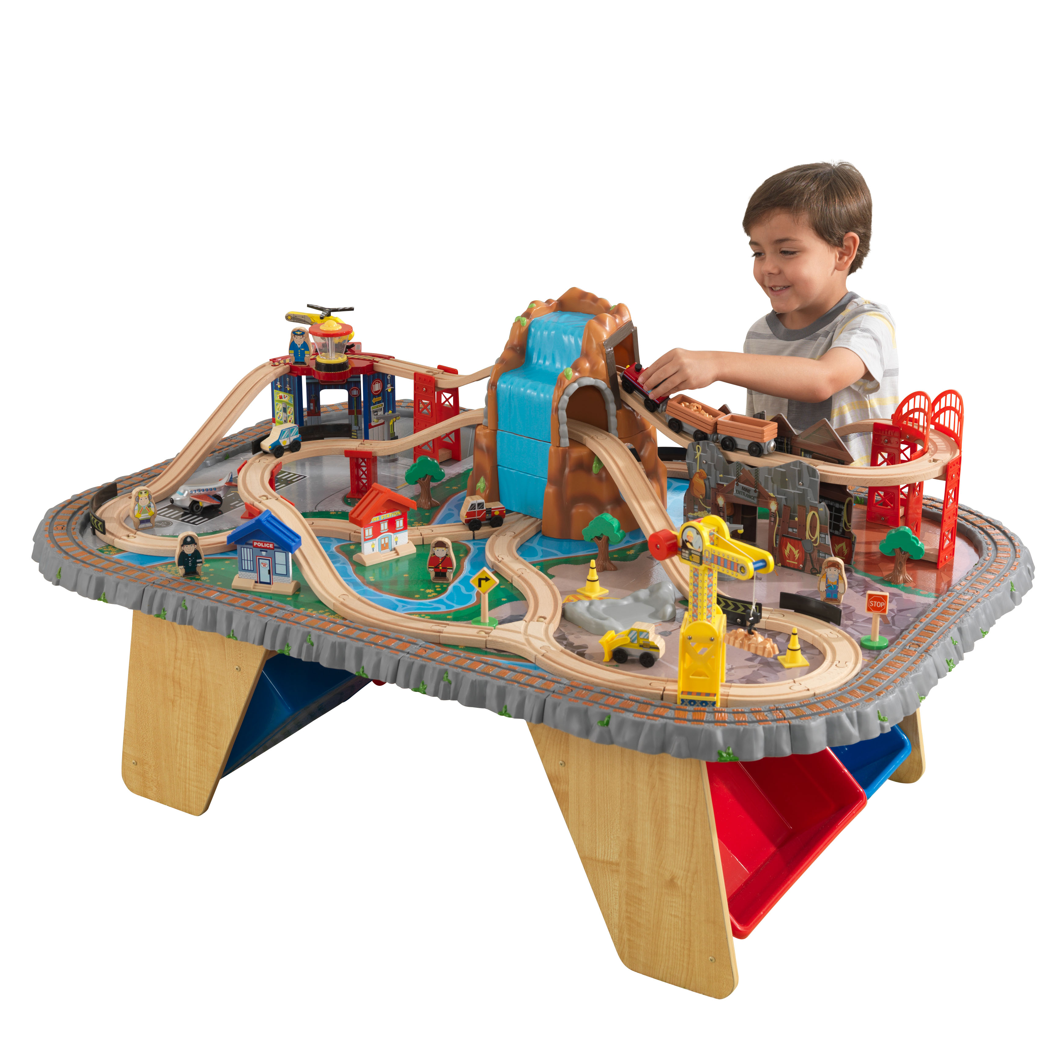 KidKraft Waterfall Junction Train Set & Table with 112 accessories included