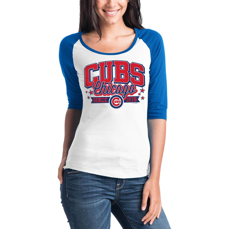Chicago Cubs 5th & Ocean by New Era Women's Team Banner 3/4-Sleeve Raglan T-Shirt - White/Royal