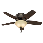 """Hunter 42"""" Newsome Premier Bronze Ceiling Fan with Light Kit and Pull Chain"""