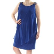 XSCAPE Womens Blue Beaded Ruffled Sleeveless Scoop Neck Above The Knee Shift Dress Plus  Size: 18W