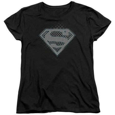 Womens Checkerboard - Superman - Checkerboard - Women's Short Sleeve Shirt - Large