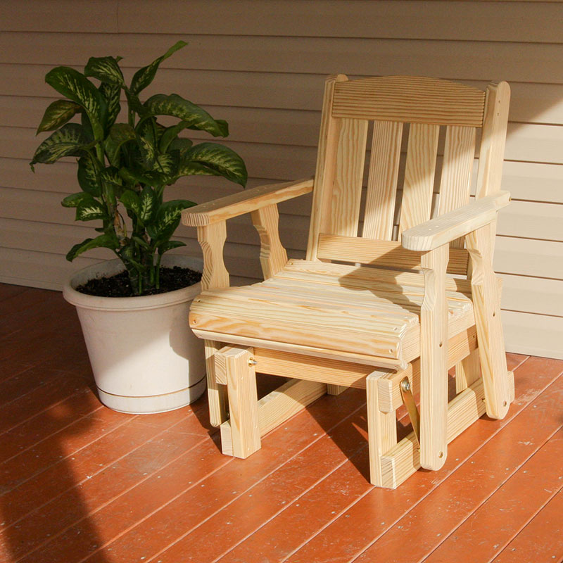Amish Heavy Duty 600 Lb Mission Pressure Treated Glider Chair (Unfinished)