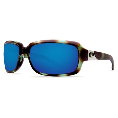 Costa Del Mar Isabela Shiny Seagrass Rectangular Sunglasses Blue Lens