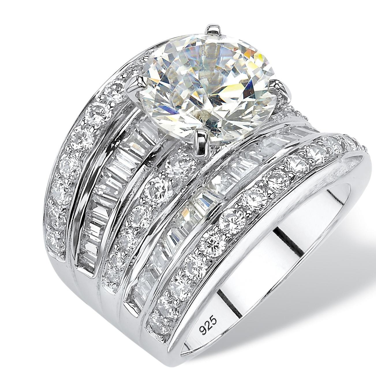 21 mm Wide mens ring designer Princes Baguette and Brilliant cut Solid 925 Silver