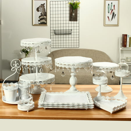 Crystal Cake Platter - Crystal Metal Cake Holder Cupcake Stand Dessert Display Stand  Birthday Wedding Party Display
