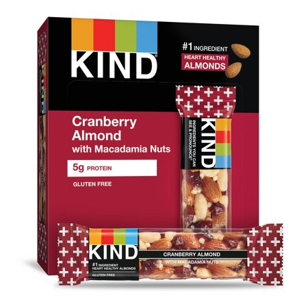 KIND Bars, Cranberry Almond + Antioxidants with Macadamia Nuts, Gluten Free, Low Sugar, 1.4oz, 12 Count (Low Sugar Energy Bars)