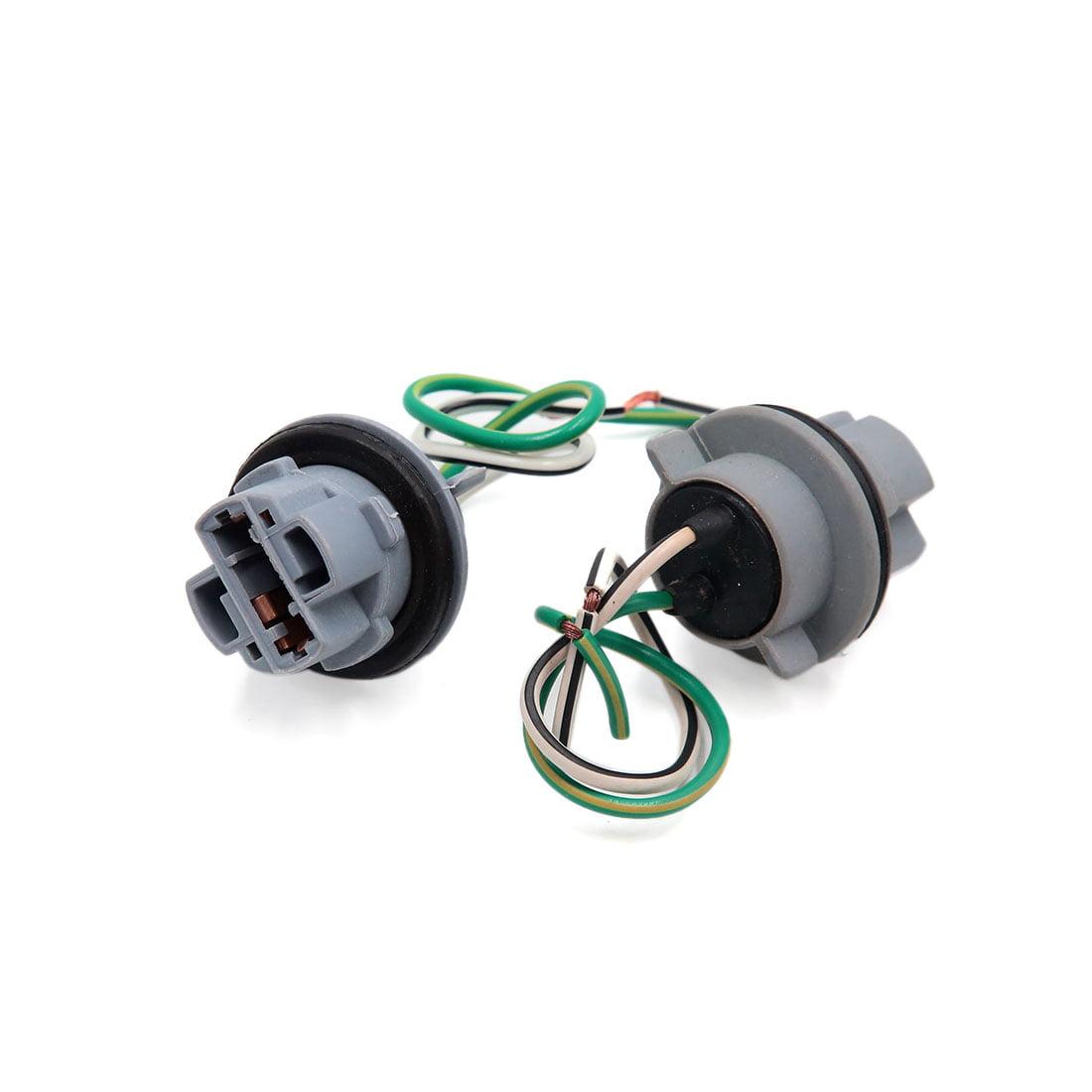 2pcs Gray Plastic Car T20 Brake Turn Signal Light Bulb Wiring Harness Socket