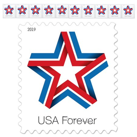 Star Ribbon Strip of 10 USPS First Class Forever Postage Stamps Patriotic Flag Wedding Celebration (10 Stamps)
