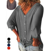 "GustaveDesign Womens Plus Size V Neck Loose Blouse 3/4 Sleeve Back Buttons T Shirts Casual Solid Tops For Summer Fall ""Gray, XL"""