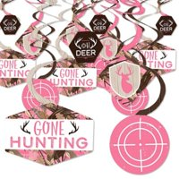 Pink Gone Hunting - Deer Hunting Camo Baby Shower or Birthday Party Hanging Decor - Party Decoration Swirls - Set of 40