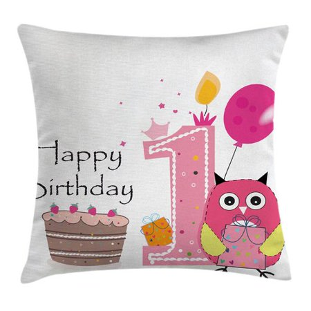 Ambesonne Cartoon First Birthday Cake Owl Square Pillow Cover