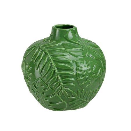 "6.25"" Green Fern Leaf Ceramic Flower Vase"