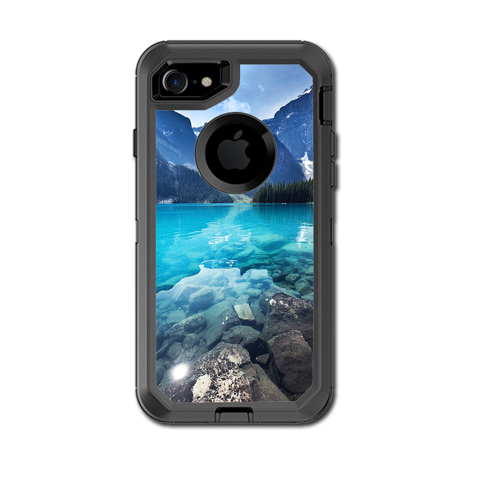 Skin Decal For Otterbox Defender Iphone 7 Or Iphone 8 Case / Mountain Lake, Clear Water
