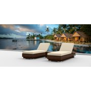Urban Furnishing Brown Series 3-Piece Modern Chaise Lounger Outdoor Wicker Set