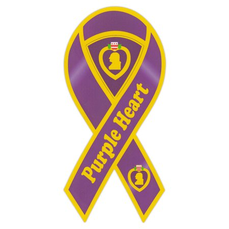 (Ribbon Shaped Magnet - Purple Heart Military Ribbon (Medal) - 2 in 1 Magnet (Center Punches Out) - 8