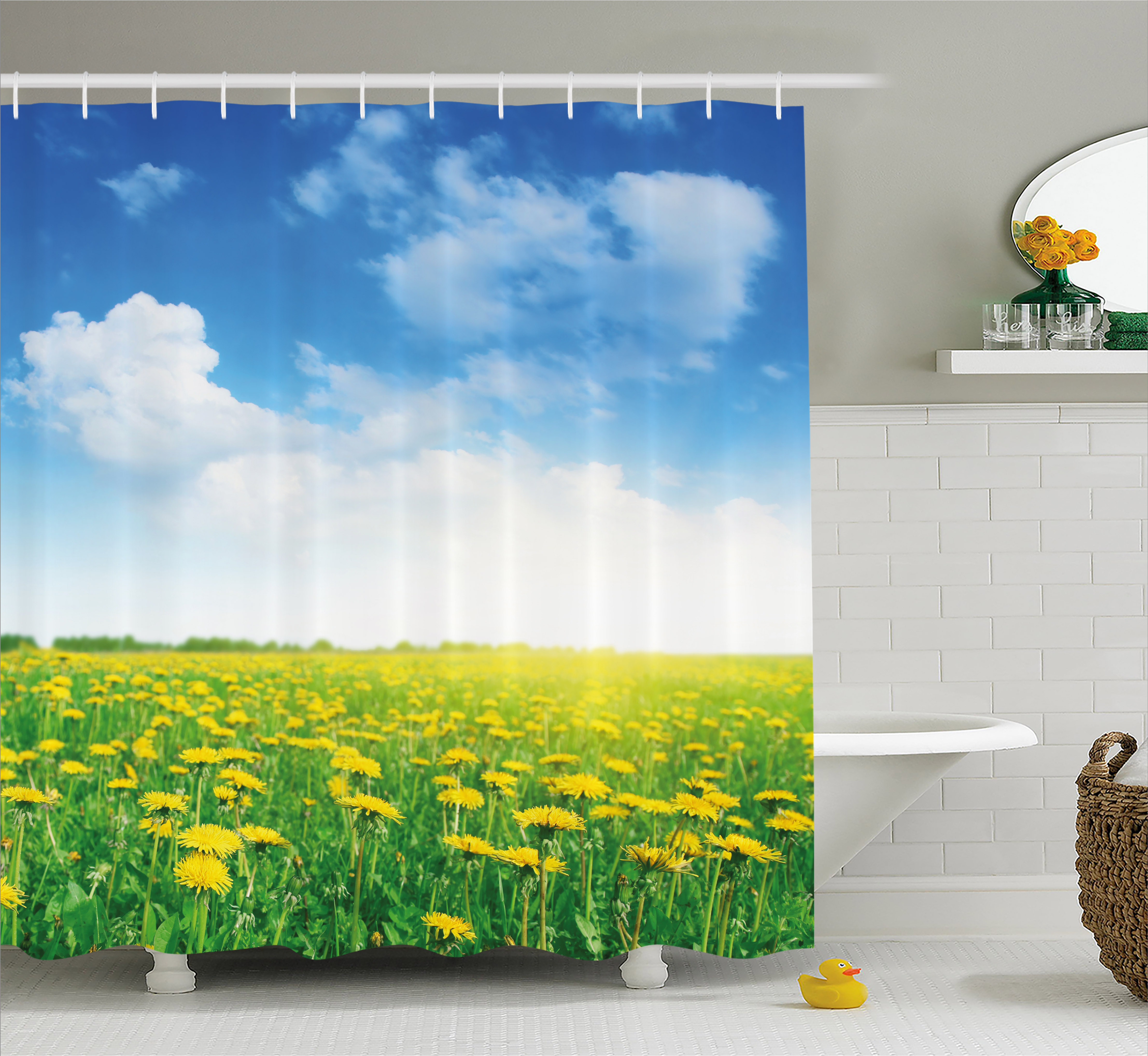 Yellow and Blue Shower Curtain, Summer Daisy Flower Field Environment Refreshing Grassland Growth, Fabric Bathroom Set with Hooks, 69W X 70L Inches, Green Blue Yellow, by Ambesonne