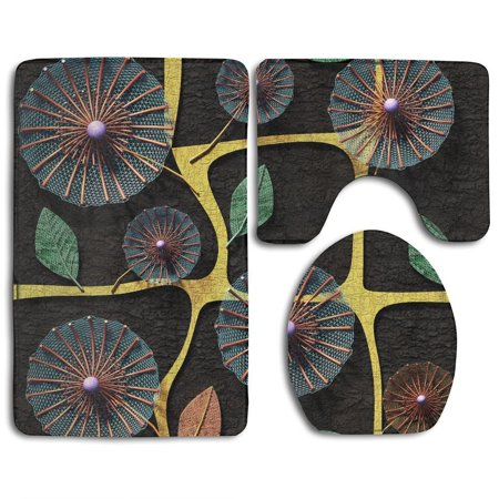 PUDMAD D Copper Flowers Seamless 3 Piece Bathroom Rugs Set Bath Rug Contour Mat and Toilet Lid Cover (Three Copper Flowers)
