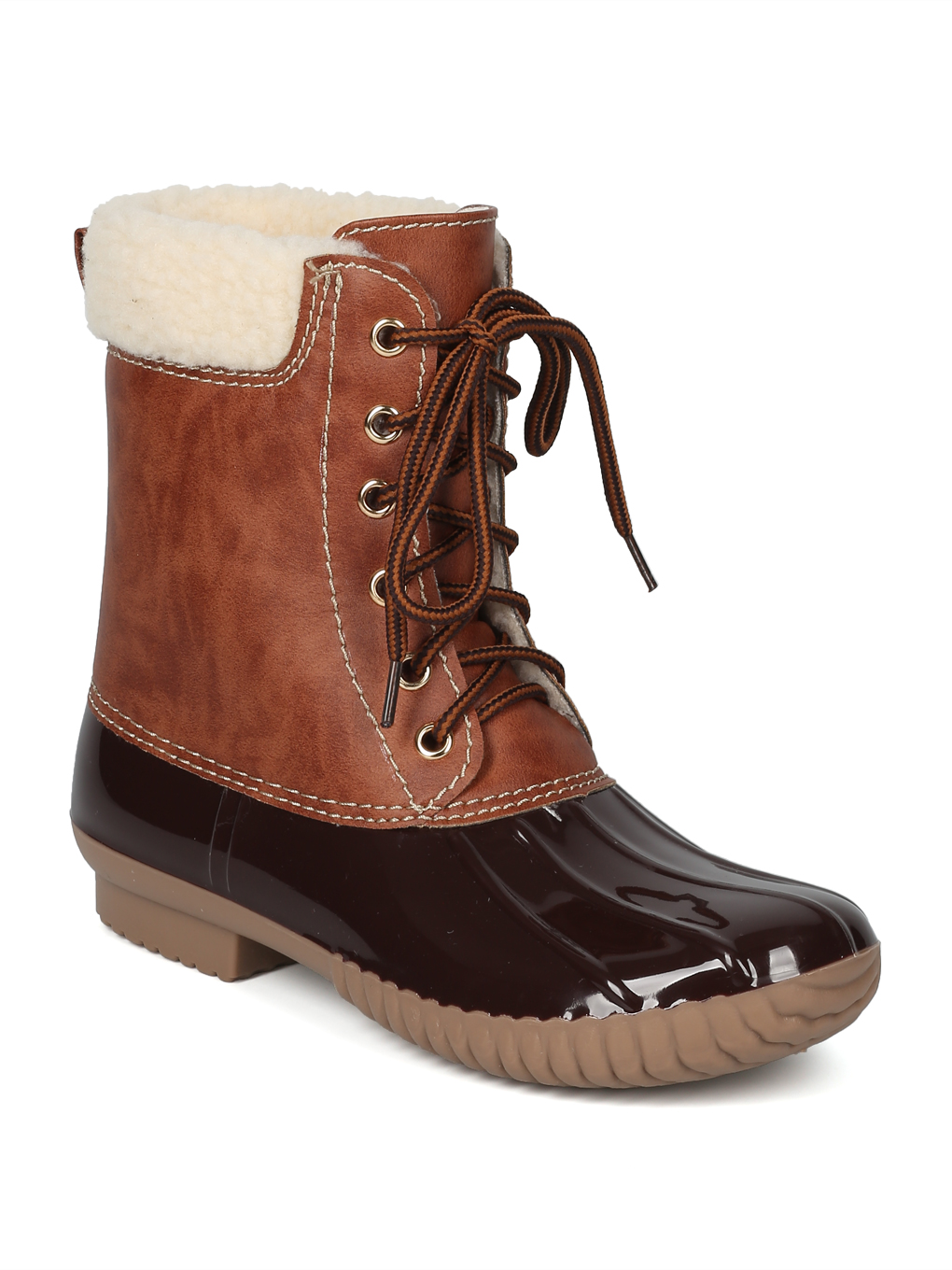 New Women Two Tone Faux Shearling Lined Lace Up Duck Boot - 17990 By Yoki