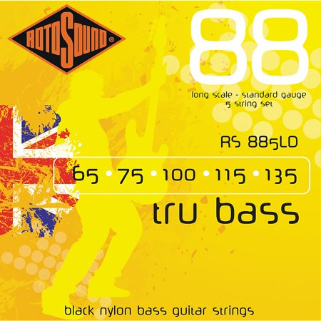Rotosound RS885LD Trubass Black Nylon Flatwound Strings Flatwound Guitar Strings