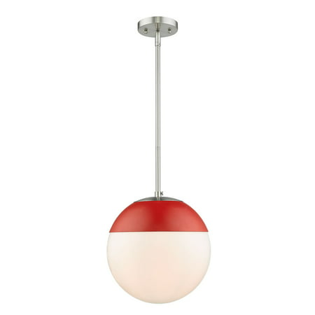 Dixon Pendant in Pewter with Opal Glass and Red Cap (Opal Glass Panel)