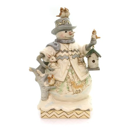 Jim Shore Sing For Winter White Woodland Snowman with Birdhouse Figurine