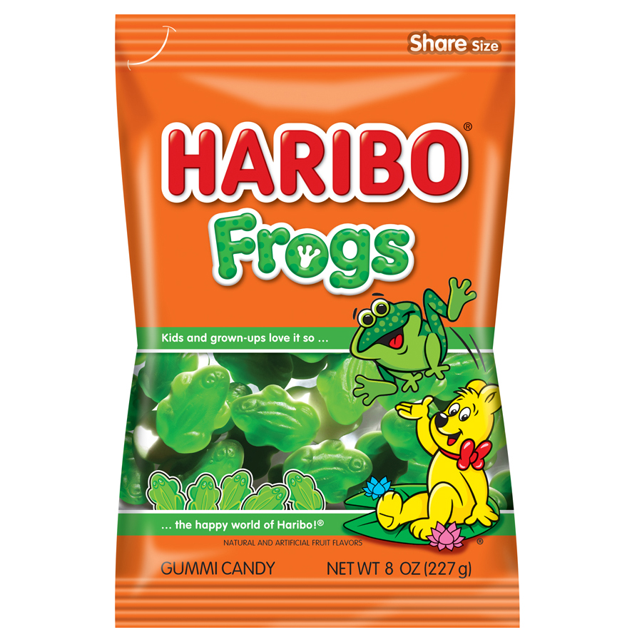 (4 Pack) Haribo, Frogs Gummi Candy, 8 Oz