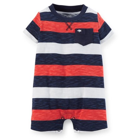 Carters Baby Clothing Outfit Boys Jersey Red/Navy Big Stripe Romper (Best Cheerleading Outfits)