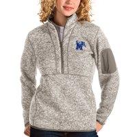 Memphis Tigers Antigua Women's Fortune Half-Zip Pullover Sweater - Oatmeal