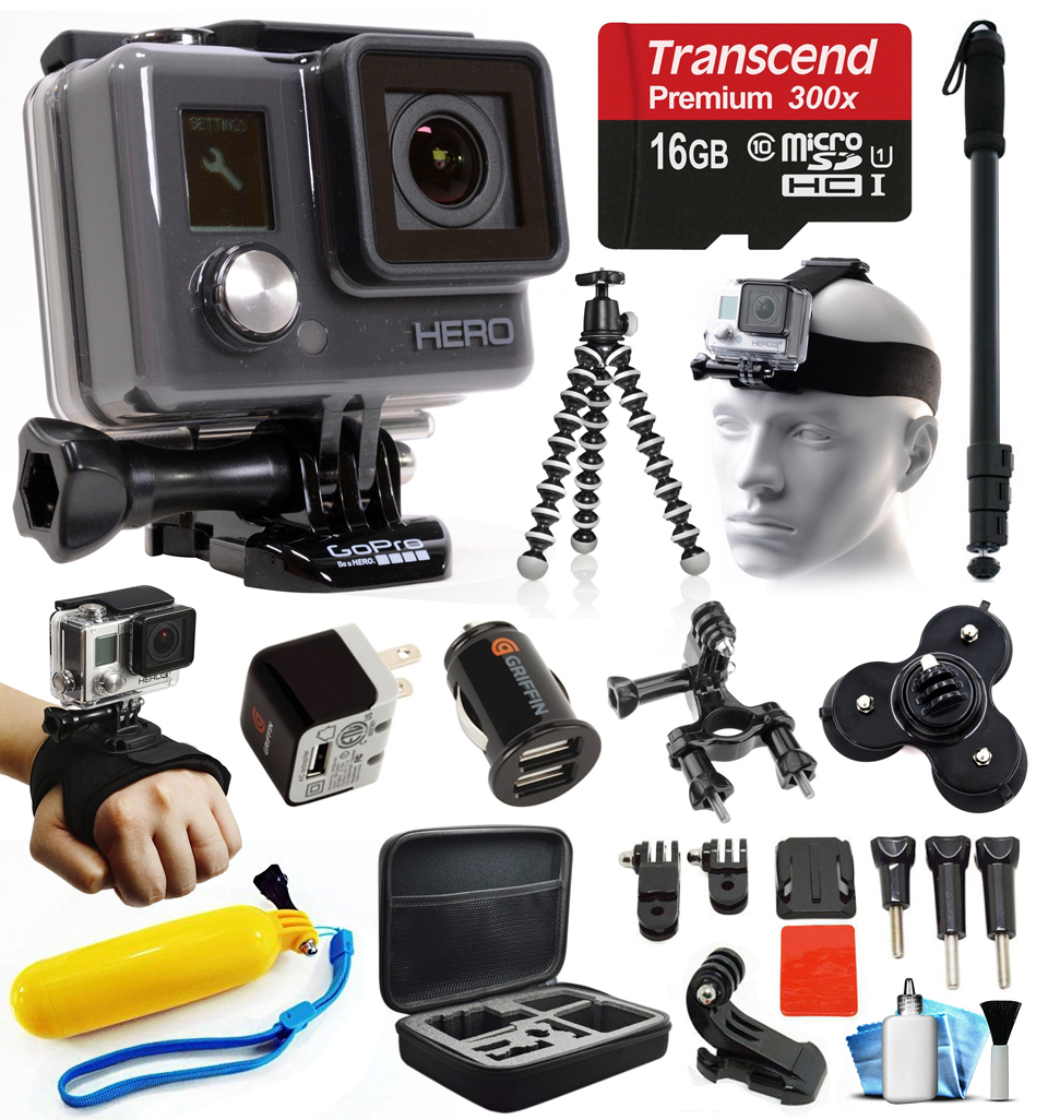GoPro HD HERO Waterproof Action Camera Camcorder with Accessories Bundle Package includes 16GB microSD Card + Selfie Stick + Head/Helmet Strap + Wall & Car Charger + Car Suction Cup + Case (CHDHA-301) GOPROACTIONHEROK3