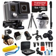 GoPro HD HERO Waterproof Action Camera Camcorder with Accessories Bundle Package includes 16GB microSD Card + Selfie Stick + Head/Helmet Strap + Wall & Car Charger + Car Suction Cup + Case (CHDHA-301)
