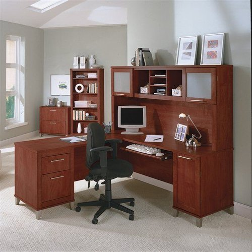 Bush Furniture Somerset 71-in L-Shaped Desk with Hutch