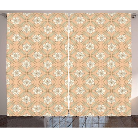 Floral Curtains 2 Panels Set, Vintage Style Illustration Lily Flowers with Curled Petals and Pointy Leaves, Window Drapes for Living Room Bedroom, 108W X 108L Inches, Peach and Ivory, by