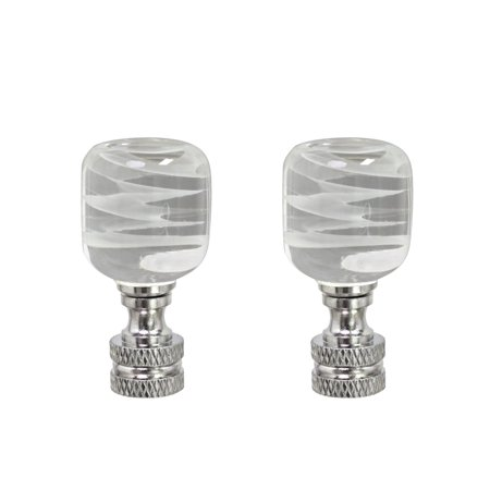 Aspen Creative 24010-12, 2 Pack Clear with White Cloud Glass Lamp Finial in Nickel Finish, 2
